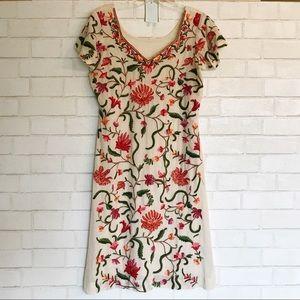 Embroidered Dress V neck Handmade M